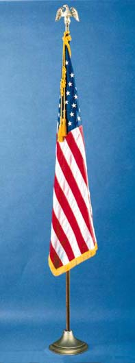 2 1/2' x 4' U.S. Nylon Indoor/Parade Flag Set with Oak Pole