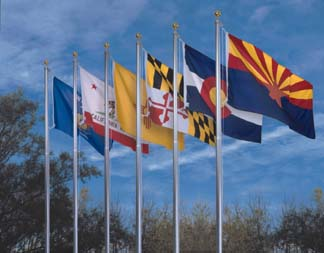"12"" x 18"" Complete 50 State Flag Sets - Endura-Poly Mounted with Fringe"