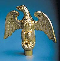 "5"" x 5"" Gold Metal Perched Eagle Ornament"