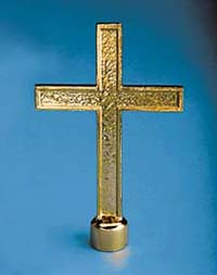 "4-1/4"" x 6-1/2"" Gold Metal Passion Cross Ornament"