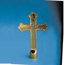 "4-3/4"" x 7-1/2"" Gold Metal Fancy Cross Ornament"