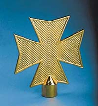 "5-1/2"" x 6-1/2"" Gold Metal Maltese Cross Ornament"