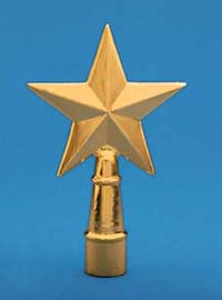 "4-1/4"" x 6-3/4"" Gold Metal Texas Star Ornament"