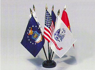 """4"""" x 6"""" Endura-Gloss Mounted Armed Forces Flag Set"""