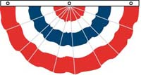 3' x 6' Cotton Pleated Fan - No Stars - Fully Printed