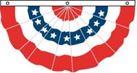 3' x 6' Nylon Pleated Fan - With Printed Stars - Sewn Stripes