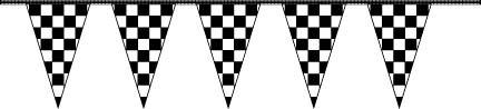 30' Black & White Checkered Pennant Streamer