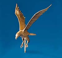 Gold Aluminum Flying Eagle Flagpole Ornament
