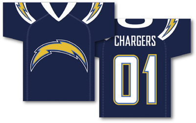 San Diego Chargers | Jersey Banner 34″ x 30″ – 2-Sided