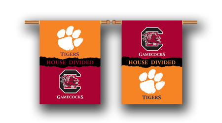 Clemson – S. Carolina | 2-Sided 28″ X 40″ Banner W/ Pole Sleeve House Divided