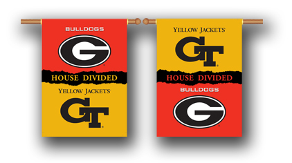 Georgia – Ga. Tech | 2-Sided 28″ X 40″ Banner W/ Pole Sleeve House Divided