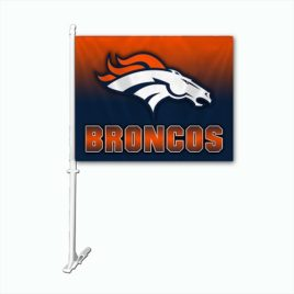 Denver Broncos | Car Flag W/Wall Brackett