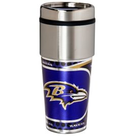 Baltimore Ravens | Stainless Steel Travel Tumbler Metallic Graphics 16 Oz.