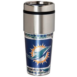 Miami Dolphins | Stainless Steel Travel Tumbler Metallic Graphics 16 Oz.